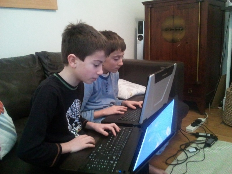 Boys playing Terraria, January 2012
