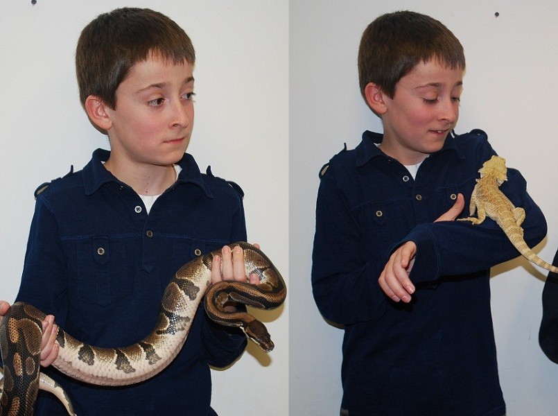 Xavier with reptiles, April 2012